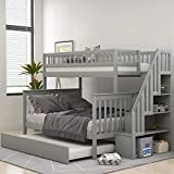 Merax Twin Over Full Stairway Bunk Bed with Storage and Trundle Bed, No Box Spring Required, Grey