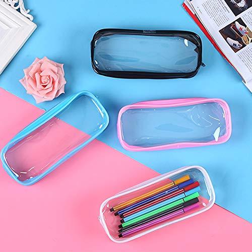 Astuccio trasparente per matita SUNSHINETEK 4 pezzi Astuccio trasparente per penna Astuccio per matita Custodia per trucco con cerniera in PVC di grande capacit per articoli di cancelleria