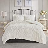 MISC Cream Chenille Comforter King/Cal King Set Tufted Bedding Damask Chenile Cotton Farmhouse Pretty Shabby Chic Country Charm, 3 Piece