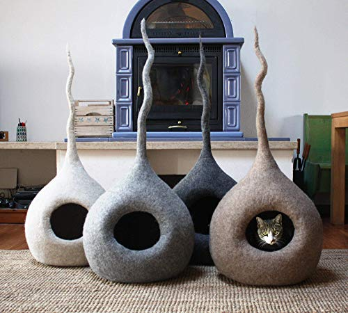 MEOWFIA Premium Cat Bed Cave - Eco Friendly 100% Merino Wool Bed for Cats and Kittens (XL, Dark Grey Drop)