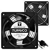 Tupavco Network Cabinet Fan (Dual 2pc Kit for Server Rack Cooling) Pair of Ultra Quiet Roof Rackmount Muffin Fans 120mm 4in Noise Level 40dBa Steel Frame Ventilation with 110V AC/Ground Cable TP1511