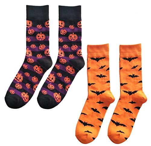 Zoylink Calzini da Uomo di Halloween novit Calze Crew Calze di Cotone Modello Pipistrello Zucca