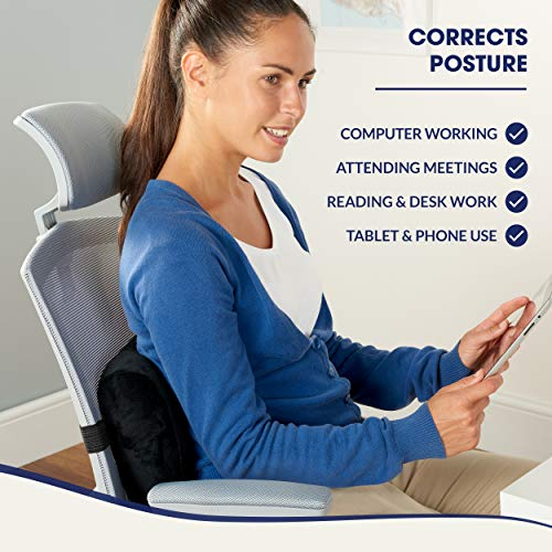 Product Image 3: Relax Support RS7-X Office Chair Back Support Pillow - Medium Firm Memory Foam Lumbar Cushion - Promotes Spinal Alignment & Better Posture - Non-Slip Strap, Washable Cover - Fits Wheelchair, Recliner