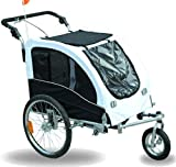 Tidyard 2-in-1 Pet Bike Trailer and Jogging Stroller with Suspension Dog Cat Bicycle Carrier Adjustable Handle Bar Front 360 Degree Swivel Wheel Hitch Safety Flag Animal Bike Stroller