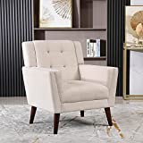 SDYEI Mid-Century Modern Fabric Club Chair, Single Sofa Comfy Upholstered Accent Chair for Living Room Bedroom with Tufted Design (Beige)