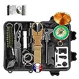 Kit de survie d'urgence Multi-outils 14en1 Avec Trousse de Premiers Secours,Couteau de Survie,Lampe...