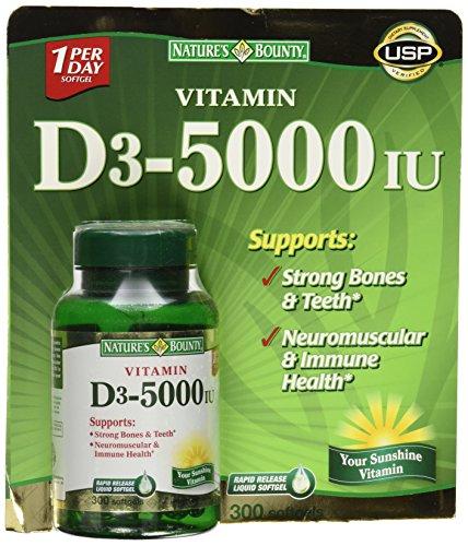 Nature's Bounty Vitamin D3 5000 IU 150 Softgels Pack of 2
