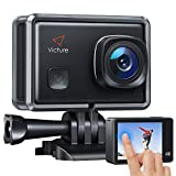 【3-6 Days Delivery】 Victure AC900 4K 30fps Action Camera 20MP WiFi Touch Screen 30M Underwater Recording Camera PC Webcam Sports Cam with 2 1350mAh Rechargeable Batteries and Helmet Accessories Kit