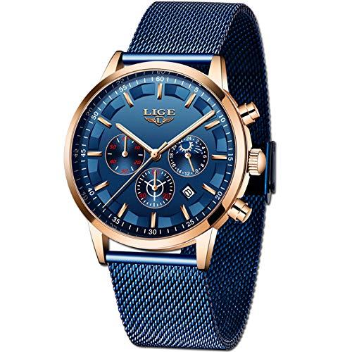 LIGE Relojes Hombre Moda Impermeable Acero Inoxidable Analógico Cuarzo Relojes Negocio Azul Fecha Automática Relojes