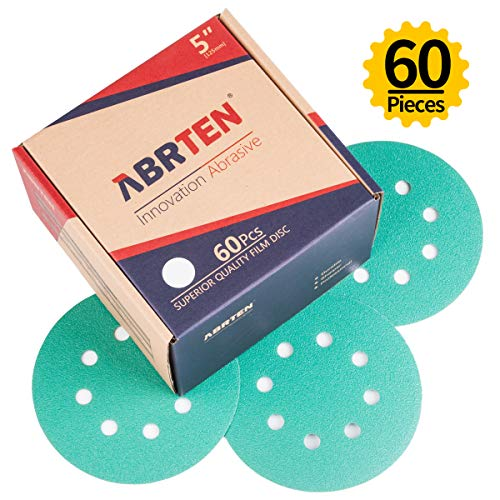 ABRTEN 5-inch 8 Holes Power Sander Hook & Loop Sanding Disc 180 Grit (60 Pieces) By Blue Fired Aluminium Oxide Polyester Back For Car Paint Refinishing & Wood or Metal sanding and polishing
