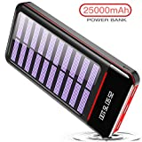 RLERON Batterie Externe 25000mAh Solaire Power Bank Chargeur LCD Display 3 Ports...