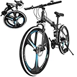 26 Inch Bikes Folding Bicycle Mountain Bike Dual Disc Brake, 21-Speed, Lightweight and Durable for Men Women Bike (Black)