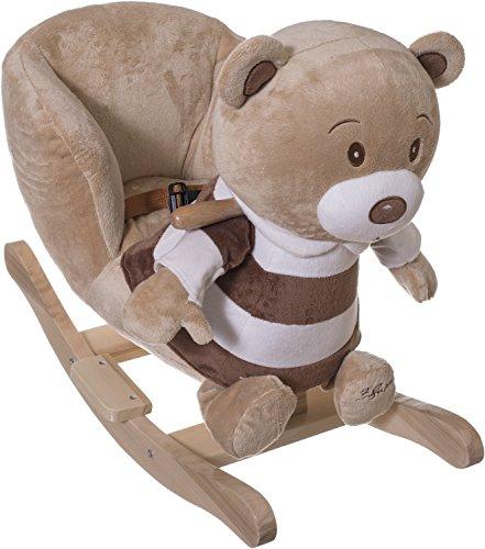 Bieco Plüsch Schaukeltier Bär, braun, Kinder Rocking Horse Schaukelpferd ab 1 Jahr, Sicherheitsgurt und Rückenlehne für den kinderschaukelstuhl , massiv mit Fußstütze