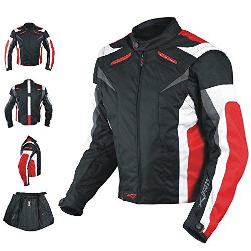 A-Pro Giacca Tessuto Moto Protezioni CE Manica Staccabile Gilet Termico Rosso XXL