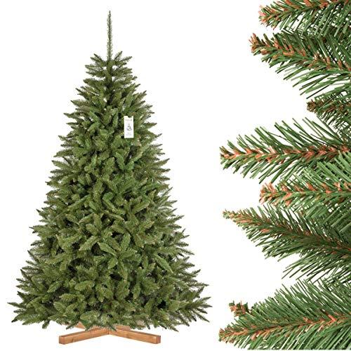 FairyTrees künstlicher Weihnachtsbaum FICHTE Natur, grüner Stamm, Material PVC, inkl. Holzständer, 220cm, FT01-220