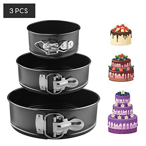 EKKONG Kuchenform Rund Inspiration Springform Cake Pans Runde Backform mit Flachboden Kuchenformen auslaufsicher, antihaftbeschichtet, 3 Größen Enthält 10.16cm/17.78cm/22.86cm