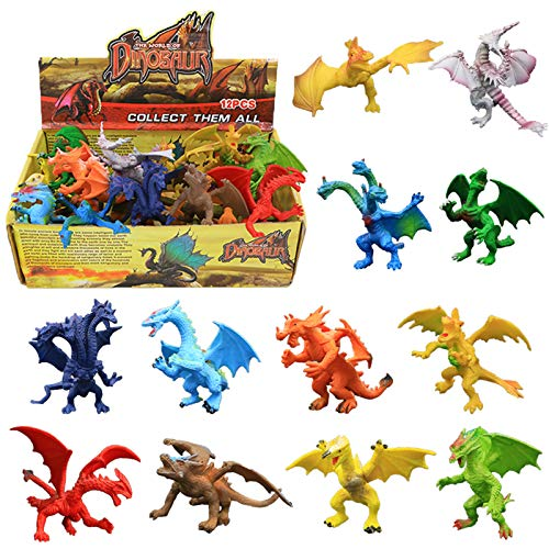 Dragon Toys,12 Piece Assorted Realistic Looking Dragon Figure,4 Inch Mini Dragons Sets with Gift Box,ValeforToy Non-Toxic Safety Materials ABS Vinyl Plastic Dragon,Party Favors Toy for Boys Kids