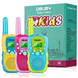 Obuby Walkie Talkies for Kids, 22 Channels 2 Way Radio Kid Gift Toy 3 KMs Long Range with Backlit LCD Flashlight Best Gifts Toys for Boys and Girls to Outside Adventure , Camping (Blue&Pink&Yellow)