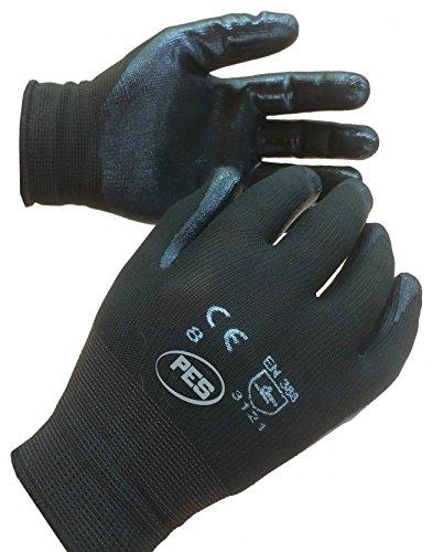 12paia di nitrile rivestito in nylon guanti da lavoro taglia 10EU