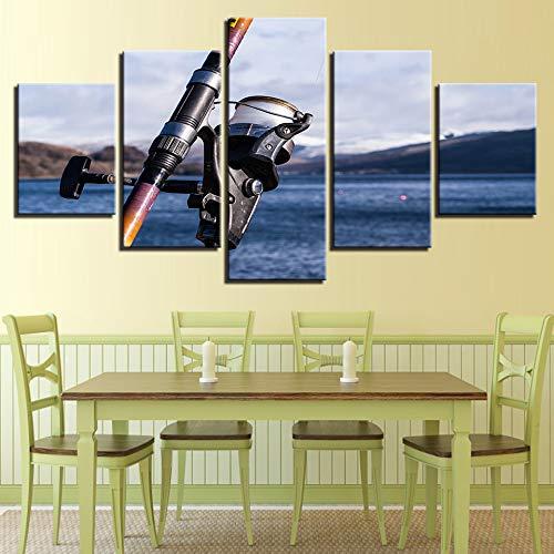 zayduo 5 Pannelli Stampa Artistica Immagini su Tela Decorazioni per la casa Stampe HD 5 Pezzi Vai Dipinti di Pesca Canna da Pesca Vista sul Mare Poster Soggiorno Arte della Parete