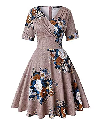 Feature: 1950s Classy Audrey Hepburn Style Flared Dress, Short sleeve, Knee-Length, Floral Printed, Wrap V-neck, A-line, Concealed Zipper Closure at back. Occasion: Suit for Cocktail dresses, Wedding dresses, Evening dresses, Christmas party dresses,...