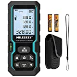 Laser Distance Measure, Mileseey by RockSeed 328 Feet with Electronic Level Control, 2 Bubble Levels,M/in/Ft Unit Switching Backlit LCD and Pythagorean Mode, Measure Distance, Area, Volume