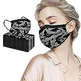 Yuemei 50 Stück Erwachsenen Einweg Mundschutz, 3 Lagig Vlies Spitze Dreischichtig Atmungsaktives Design Staubdicht Halstuch mit Nasenbügel, Mund Nasenschutz Halstuch Für Frauen (A)