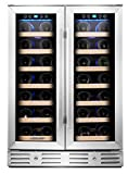 Kalamera KRC-40DZB 24' 40-bottle Wine Cooler Refrigerator with Dual Zone/Stainless Steel Door/Handle, Black