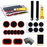 LSSH 25PCS Bike Tire Patch Repair Kit for Bicycle Inner Tube with Vulcanizing Patches, Pre Glued Patchs,Lever, Metal Rasp and Portable Storage Box Also for Inflatable Rubber,BMX and Motorcycles.