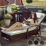 TecTake Polyrattan Gartenliege 6-Fach höhenverstellbar mit gummierten Rädern - 3