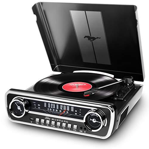 ION Audio Mustang LP - Chaîne Hi-Fi Rétro Ford Mustang 4-en-1 avec Platine Vinyle, Radio, Port USB et Prise AUX, ainsi que des Puissantes Enceintes Stéréo Intégrées - Finition Noire