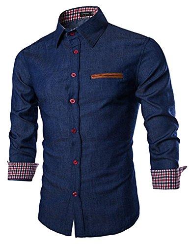 COOFANDY Herren Jeanshemd Slim Fit Hemd Denim Langarmhemd Cowboy-Style...