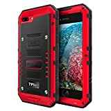 Beasyjoy Waterproof Case Compatible with iPhone 7 Plus/iPhone 8 Plus, Heavy Duty Case Built-in Screen Full Body Protective Shockproof Tough Rugged Hybrid Military Grade Defender Outdoor Red