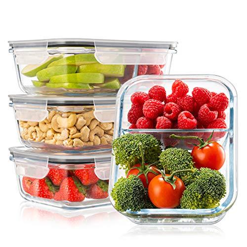 Twinzee Frischhaltedosen aus Glas I 4-er Set - 1040 ml I Aufbewahrungsbox Auslaufsicher Lunchbox, 2...