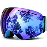 Juli Ski Goggles,Winter Snow Sports Snowboard Goggles with Anti-Fog UV Protection Interchangeable Spherical Dual Lens for Men Women & Youth Snowmobile Skiing Skating Blue