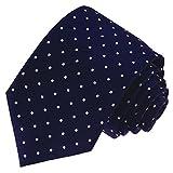 Lorenzo Cana Cravate de luxe 100 % soie Motif pois - Bleu - 150 x 7.8 cm