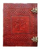 Kooly Zen - Carnet, bloc notes, journal, livre, cuir véritable, vintage, croix des templiers, fermoir métal vintage, 25cm X 33cm, 240 pages, Papier premium
