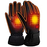 SVPRO Heated Gloves 3.7V Rechargeable Battery Powered Heated Gloves Men Women Electric Thermal Gloves Winter Warm Heated Hand Warmer for Hunting Fishing Skiing Cycling etc (3.7V Gloves Button)