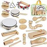 AILUKI Instrumentos musicales de madera, 21 piezas, juego de instrumentos musicales, juego de percusión, juguete para niños pequeños