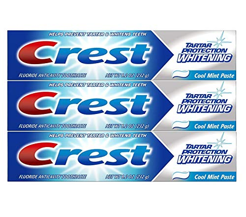 Crest Tartar Protection Whitening Toothpaste, Cool Mint Paste, 8.2 oz (232g) - Pack of 3