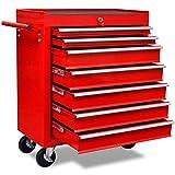 vidaXL Chariot à Outils d'Atelier Rouge 7 Tiroirs Coffret Caisse à Roulettes