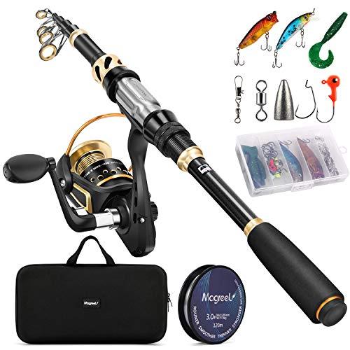 Magreel Canna da Pesca e Mulinello da Pesca con Lenza Pesca Kit Esche Ganci Pesca con Borsa Combo da Spinning Telescopiche Attrzzatura Accessori da Pesca