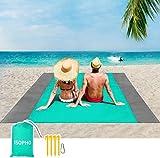 ISOPHO Picknickdecke 200 x 210 cm Stranddecke Wasserdicht, Strandmatte 4 Befestigung Ecken Stranddecke Sandfrei/Picknick für den Strand, Campen, Wandern und Ausflüge(Grün)