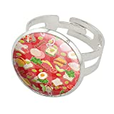 GRAPHICS & MORE Messy Sandwich Pattern Bread Cheese Bacon Lettuce Egg Food Silver Plated Adjustable Novelty Ring