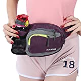 Innokids Hiking Waist Pack with Water Bottle (Not Included) Holder on Right Side,Outdoor Sports Waist Bag,Running Belt,Lumbar Fanny Pack for Walking Jogging Cycling Camping Travel(Purple)