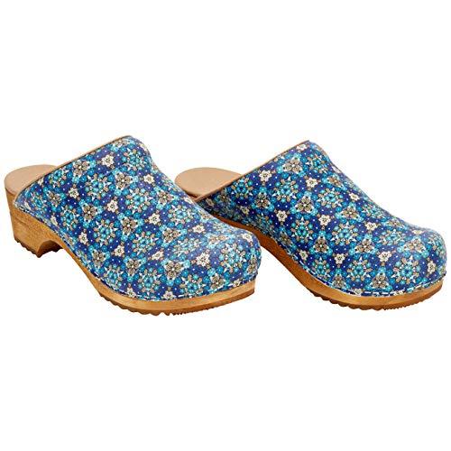 Sanita Zueco Rajan Mule | Zueco de cuero de madera hecho a mano original para mujer, color Azul, talla 37 EU