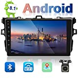 UNITOPSCI Car Stereo Android 8.1 Navigation Stereo for Toyota Corolla 2006-2012 Double Din Car Radio 9'' HD Touch Screen 1G 16G GPS Navigation WiFi Bluetooth FM Radio USB Mirror Link + Backup Camera
