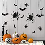 46 Pieces Halloween Bat Spider Decorations Hanging Bats and Spiders Wall Decals Window Stickers Halloween Party Supplies