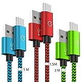 Gritin Cavo USB C [3 Pezzi: 1m, 1.5m, 2m] Nylon Intrecciato Cavo USB Tipo C per Galaxy S9/S8+, Note 8, Sony Xperia XZ, HTC 10/U11, OnePlus 5T, Huawei P9 e pi (Colore)