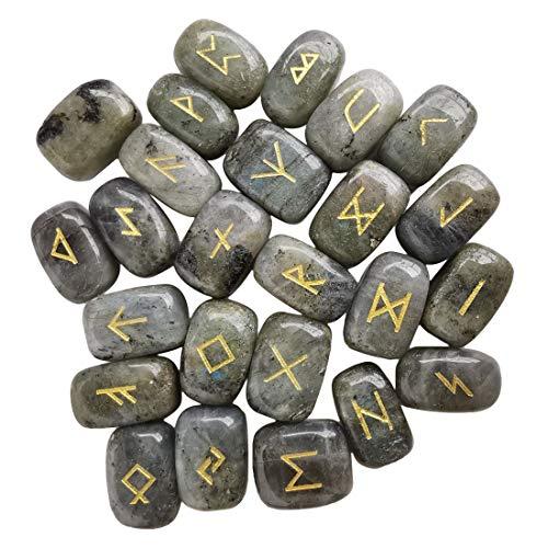 Loveliome Natural Rune Stones Set, Polished Engraved Elder...